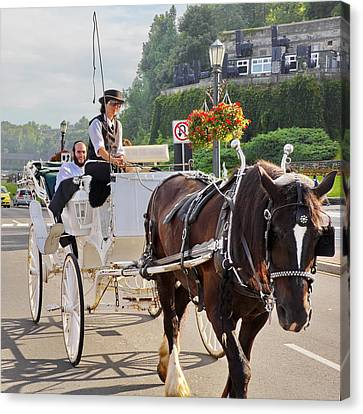 Carriage Ride Down River Road Canvas Print by Simply  Photos