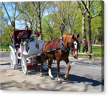 Carriage Ride In Central Park Canvas Print by Eleanor Abramson