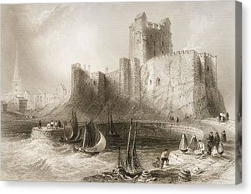 Carrickfergus Castle, County Antrim, Northern Ireland, From Scenery And Antiquities Of Ireland Canvas Print