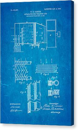 Carrier Air Conditioning Patent Art 1906 Blueprint Canvas Print by Ian Monk