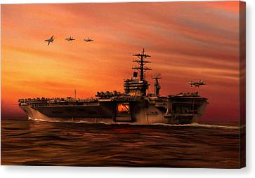 Dale Jackson Canvas Print - Carrier Ops At Dusk by Dale Jackson