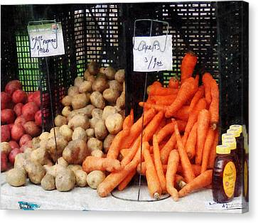 Harvest Canvas Print - Carrots Potatoes And Honey by Susan Savad