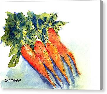 Canvas Print featuring the painting Carrots by Sandy Linden
