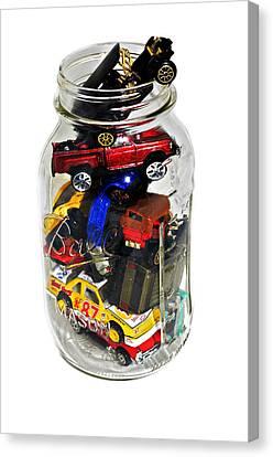 Cars In A Jar Canvas Print by Susan Leggett