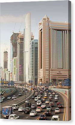 Cars In Dubai Canvas Print by Ashley Cooper