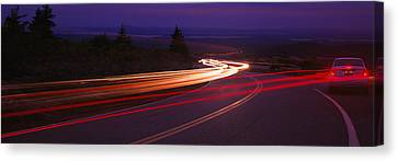 Cars Moving On The Road, Mount Desert Canvas Print by Panoramic Images