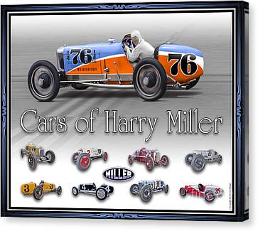 Canvas Print featuring the photograph Cars Of Harry Miller by Ed Dooley