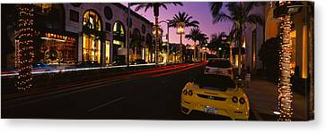 Cars Parked On The Road, Rodeo Drive Canvas Print by Panoramic Images