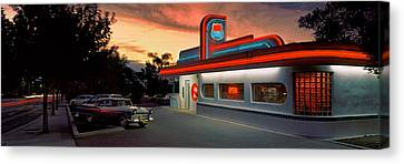 Cars Parked Outside A Restaurant, Route Canvas Print by Panoramic Images