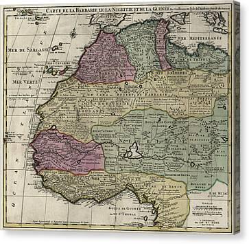 Carte De La Barbarie Le La Nigritie Et Del La Guinee  1792 Canvas Print by Compass Rose Maps