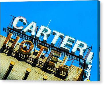 Carter Hotel Sign Canvas Print by Jon Woodhams