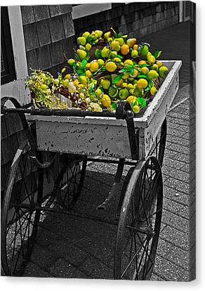 Cartful Of Lemons And Apples Canvas Print by John Hoey