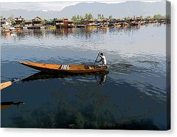 Cartoon - Boat Among The Weeds - Man Rowing His Boat In The Dal Lake In Srinagar Canvas Print by Ashish Agarwal