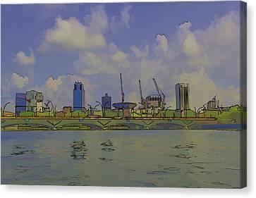 Cartoon - Buildings And Bridge On The Marina Reservoir Canvas Print