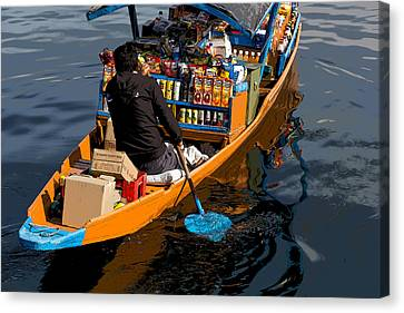 Cartoon - Groceries At Your Doorstep - Grociers On A Shikara On The Dal Lake Canvas Print
