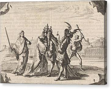 Cartoon About The Struggle Between Louis Xiv And Pope Canvas Print
