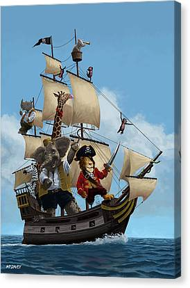 Cartoon Animal Pirate Ship Canvas Print by Martin Davey