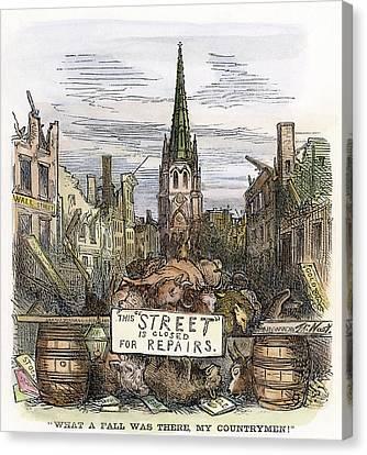 Cartoon Bank Panic, 1869 Canvas Print by Granger