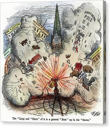 Cartoon Bank Panic, 1873 Canvas Print by Granger