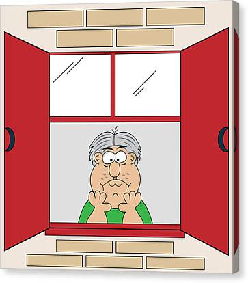 Cartoon Bored Old Man At Window Canvas Print by Toots Hallam