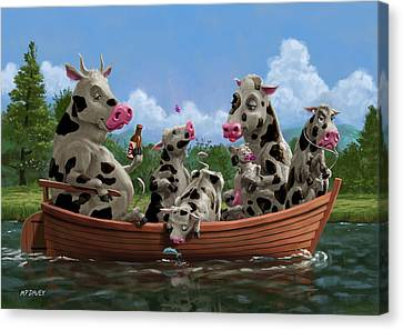 Ipod Canvas Print - Cartoon Cow Family On Boating Holiday by Martin Davey
