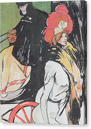 Cartoon Depicating A Cabman With A Courtesan Canvas Print