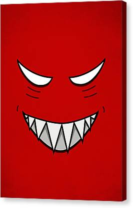 Cartoon Grinning Face With Evil Eyes Canvas Print