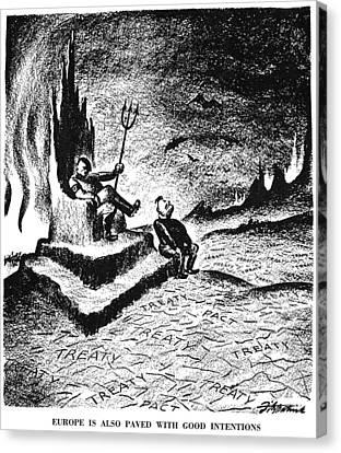 Cartoon: Hitler & Mussolini Canvas Print