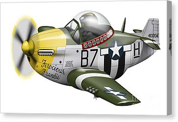 Cartoon Illustration Of A P-51 Mustang Canvas Print by Inkworm