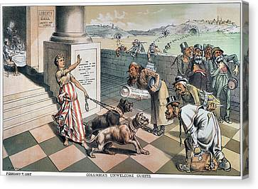 Cartoon Immigration, 1885 Canvas Print by Granger