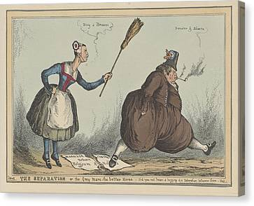 Cartoon On The Separation Between The Netherlands Canvas Print