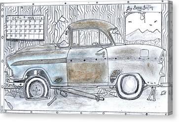 Cartoon Rustic Car  Canvas Print by Gerald Griffin