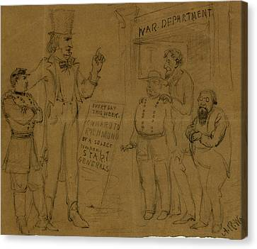 Cartoon Showing Uncle Sam And General Mcclellan Standing Canvas Print by Quint Lox