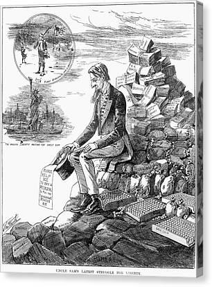 Cartoon Statue Of Liberty Canvas Print by Granger