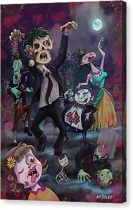 Creepy Canvas Print - Cartoon Zombie Party by Martin Davey
