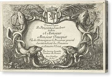 Cartouche With Fish And Water Hoses, Hans Collaert Canvas Print