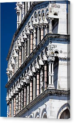 Tuscan Canvas Print - Carved Columns On Lucca Cathedral by Mathew Lodge