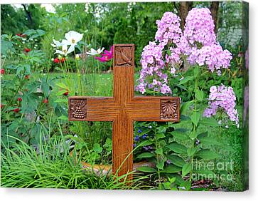 Carved Cross By George Wood Canvas Print by Karen Adams