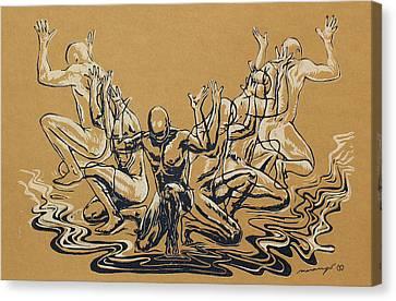 Carved Men Canvas Print by Maria Arango Diener