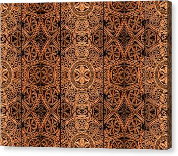 Woodcarving Canvas Print - Carved Wooden Cabinet Symmetry by Hakon Soreide