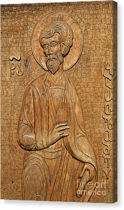 Carved Wooden Door Of The Tsminda Sameba Cathedral Canvas Print by Robert Preston