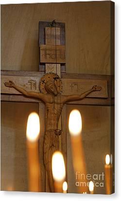Carving Of Jesus Christ On The Cross Inside Tsminda Sameba Cathedral Tbilisi Canvas Print by Robert Preston