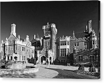 Casa Loma In Toronto In Black And White Canvas Print by Les Palenik