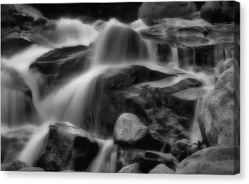 Cascades In Black And White Canvas Print by Ellen Heaverlo