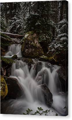 Cascading Winter Scene Canvas Print by Mike Reid
