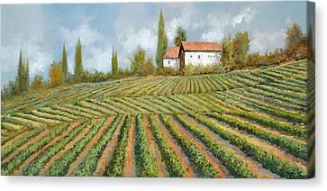 Red Wine Canvas Print - Case Bianche Nella Vigna by Guido Borelli