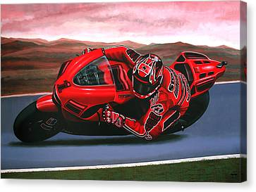 Artwork On Canvas Print - Casey Stoner On Ducati by Paul Meijering