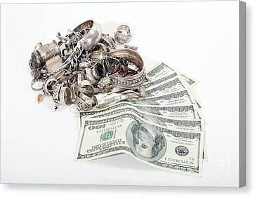 Sterling Silver Bracelet Canvas Print - Cash For Sterling Silver Scrap by Gunter Nezhoda