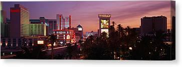 Casinos At Twilight, Las Vegas, Nevada Canvas Print by Panoramic Images