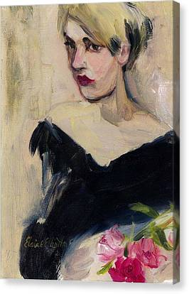 Canvas Print featuring the painting Cassandra With Roses by Elaine Elliott